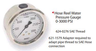 HOSE REEL WATER PRESSURE GAUGE 0-3000 PSI
